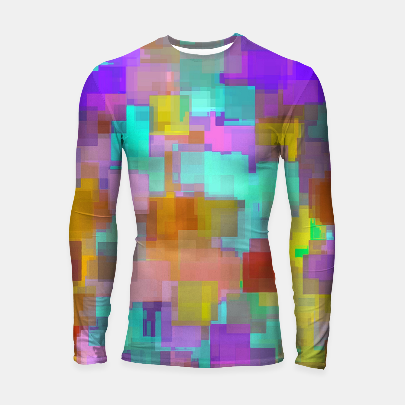 Image of geometric square pattern abstract background in pink blue purple brown Longsleeve rashguard  - Live Heroes
