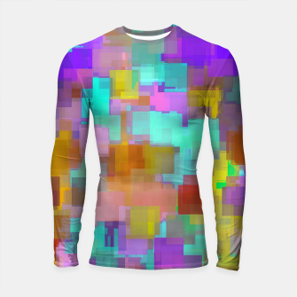 Thumbnail image of geometric square pattern abstract background in pink blue purple brown Longsleeve rashguard , Live Heroes