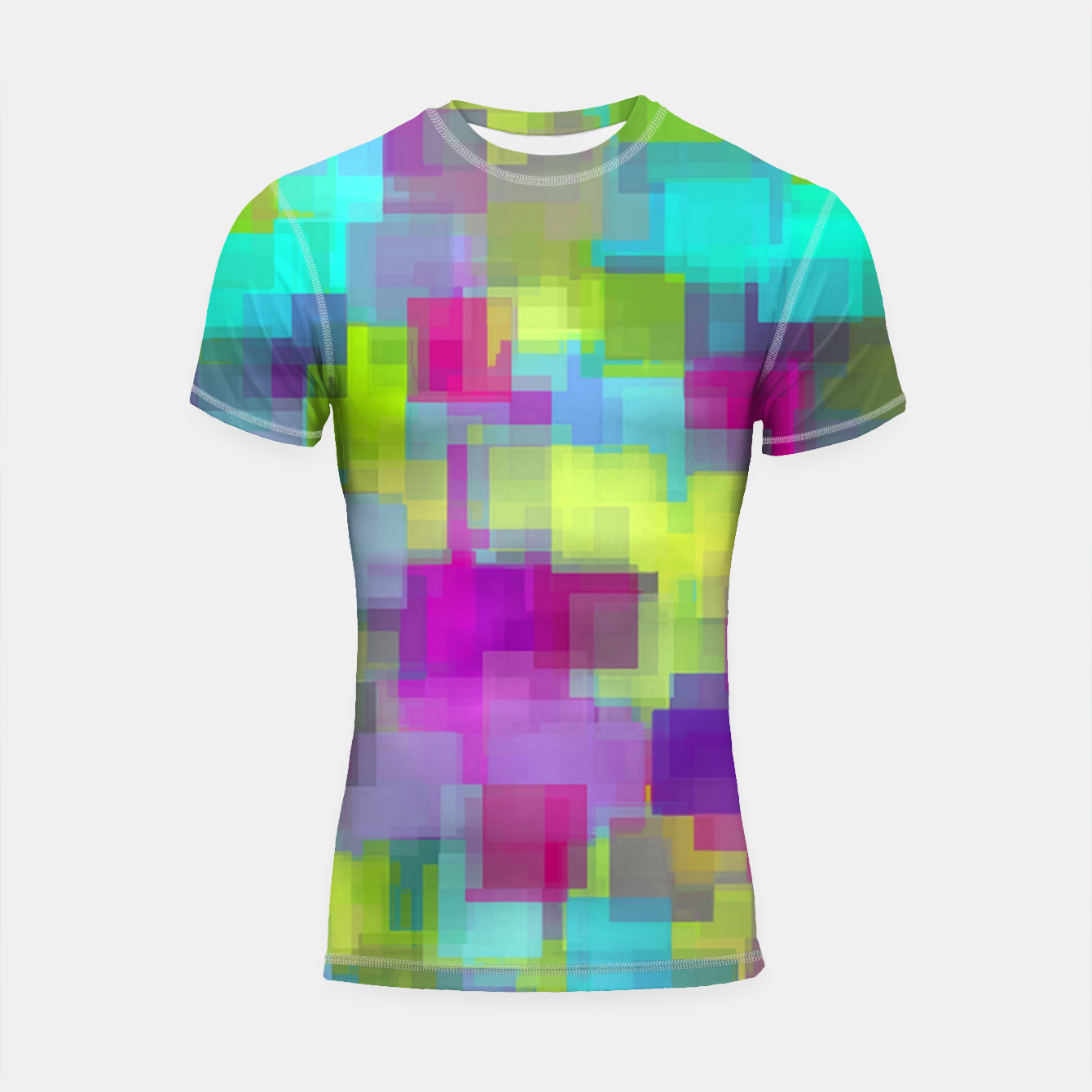Image of geometric square pattern abstract background in pink yellow blue Shortsleeve rashguard - Live Heroes