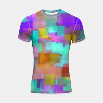 geometric square pattern abstract background in pink blue purple brown Shortsleeve rashguard thumbnail image