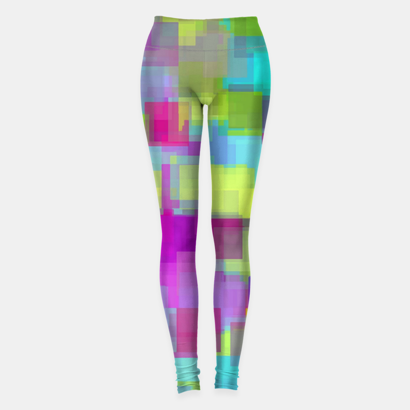 Image of geometric square pattern abstract background in pink yellow blue Leggings - Live Heroes