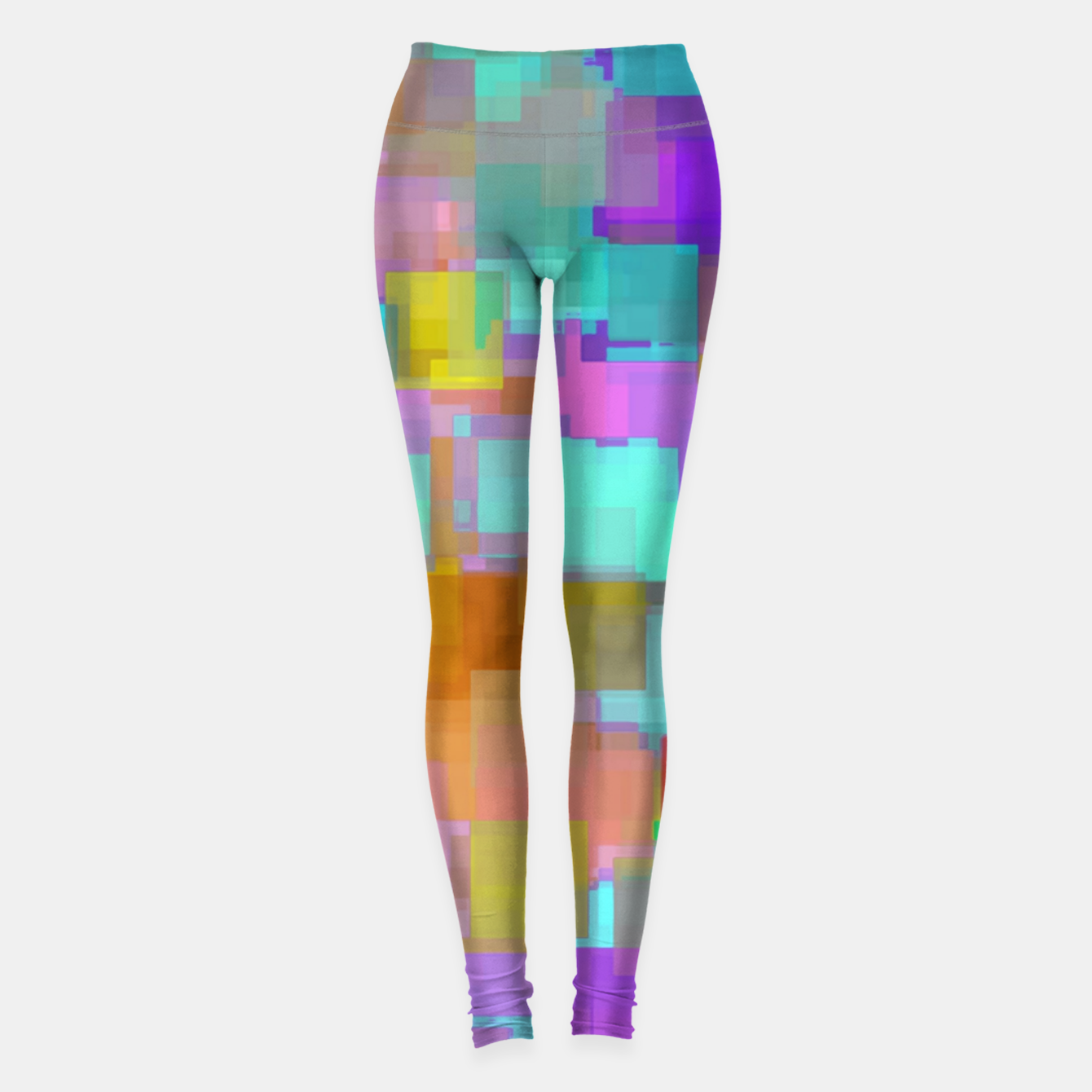 Image of geometric square pattern abstract background in pink blue purple brown Leggings - Live Heroes