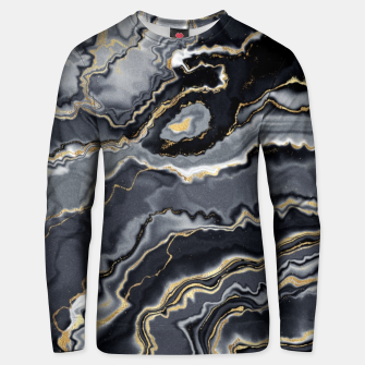 Thumbnail image of Shades of grey and gold marbled Unisex sweater, Live Heroes