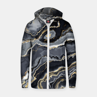 Thumbnail image of Shades of grey and gold marbled Zip up hoodie, Live Heroes