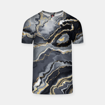 Thumbnail image of Shades of grey and gold marbled T-shirt, Live Heroes