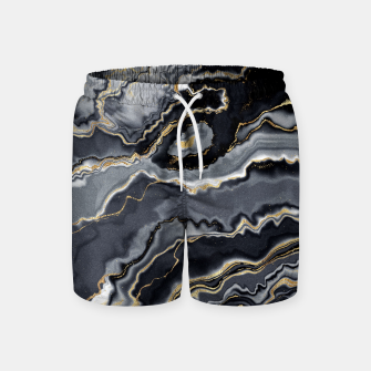Thumbnail image of Shades of grey and gold marbled Swim Shorts, Live Heroes