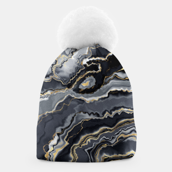 Thumbnail image of Shades of grey and gold marbled Beanie, Live Heroes