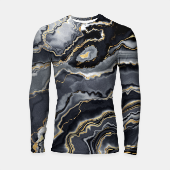 Thumbnail image of Shades of grey and gold marbled Longsleeve rashguard , Live Heroes