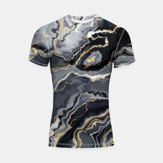 Thumbnail image of Shades of grey and gold marbled Shortsleeve rashguard, Live Heroes