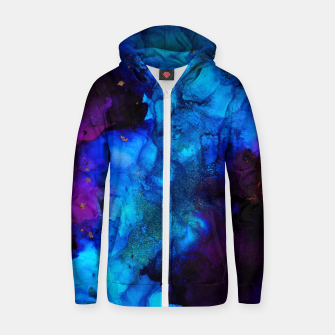 Thumbnail image of The Sorcerer's Shore - Blue + Purple Abstract Zip up hoodie, Live Heroes