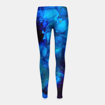 Thumbnail image of The Sorcerer's Shore - Blue + Purple Abstract Girl's leggings, Live Heroes