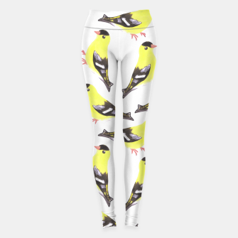 Thumbnail image of American goldfinch or Spinus tristis bird seamless watercolor birds Leggings, Live Heroes