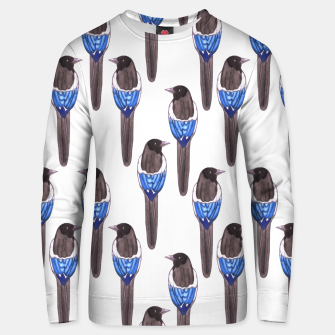 Miniatur Black billed magpie or American magpie or Pica Caudata watercolor birds painting Unisex sweater, Live Heroes