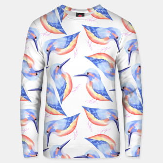 Thumbnail image of Common Kingfisher or Alcedinidae watercolor birds painting Unisex sweater, Live Heroes