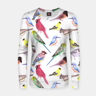 Thumbnail image of Various birds watercolor- budgie cardinal goldfinch titmouse kingfisher cedar waxwing juncos Women sweater, Live Heroes