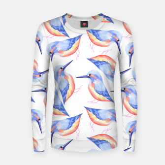 Thumbnail image of Common Kingfisher or Alcedinidae watercolor birds painting Women sweater, Live Heroes