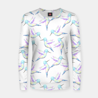 Miniatur A cute Hummingbird with iridescent feathers- watercolor birds painting Women sweater, Live Heroes