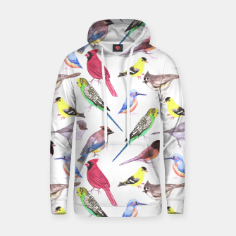 Thumbnail image of Various birds watercolor- budgie cardinal goldfinch titmouse kingfisher cedar waxwing juncos Hoodie, Live Heroes