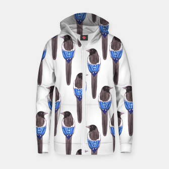 Thumbnail image of Black billed magpie or American magpie or Pica Caudata watercolor birds painting Zip up hoodie, Live Heroes