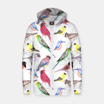 Thumbnail image of Various birds watercolor- budgie cardinal goldfinch titmouse kingfisher cedar waxwing juncos Zip up hoodie, Live Heroes