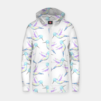 Miniatur A cute Hummingbird with iridescent feathers- watercolor birds painting Zip up hoodie, Live Heroes