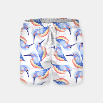 Thumbnail image of Common Kingfisher or Alcedinidae watercolor birds painting Swim Shorts, Live Heroes