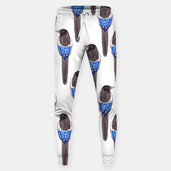 Miniatur Black billed magpie or American magpie or Pica Caudata watercolor birds painting Sweatpants, Live Heroes