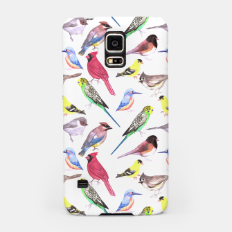 Thumbnail image of Various birds watercolor- budgie cardinal goldfinch titmouse kingfisher cedar waxwing juncos Samsung Case, Live Heroes