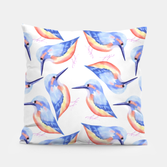 Thumbnail image of Common Kingfisher or Alcedinidae watercolor birds painting Pillow, Live Heroes