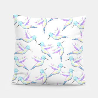 Miniatur A cute Hummingbird with iridescent feathers- watercolor birds painting Pillow, Live Heroes