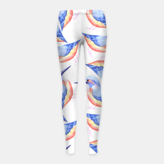Thumbnail image of Common Kingfisher or Alcedinidae watercolor birds painting Girl's leggings, Live Heroes