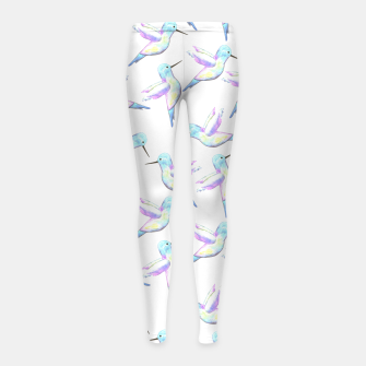 Miniatur A cute Hummingbird with iridescent feathers- watercolor birds painting Girl's leggings, Live Heroes