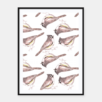 Miniatur Tufted titmouse or Baeolophus bicolor watercolor birds painting Framed poster, Live Heroes