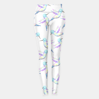 Miniatur A cute Hummingbird with iridescent feathers- watercolor birds painting Leggings, Live Heroes