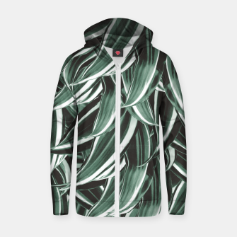 Thumbnail image of Tropical Greenery #1 #green #pattern #decor #art Reißverschluss kapuzenpullover, Live Heroes