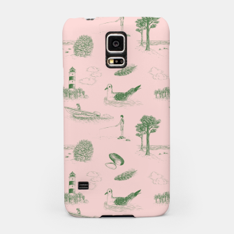 Thumbnail image of Seaside Town Toile Pattern (Pink and Green) Samsung Case, Live Heroes
