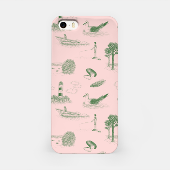 Thumbnail image of Seaside Town Toile Pattern (Pink and Green) iPhone Case, Live Heroes