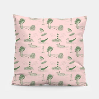 Thumbnail image of Seaside Town Toile Pattern (Pink and Green) Pillow, Live Heroes