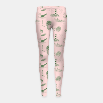 Thumbnail image of Seaside Town Toile Pattern (Pink and Green) Girl's leggings, Live Heroes