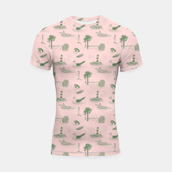 Thumbnail image of Seaside Town Toile Pattern (Pink and Green) Shortsleeve rashguard, Live Heroes