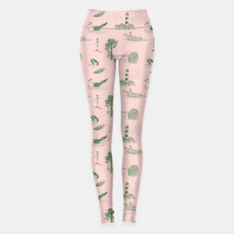 Thumbnail image of Seaside Town Toile Pattern (Pink and Green) Leggings, Live Heroes