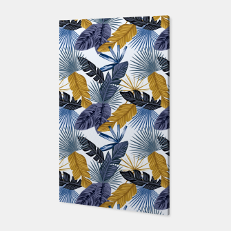 Thumbnail image of Blue and golden tropical leaves Canvas, Live Heroes