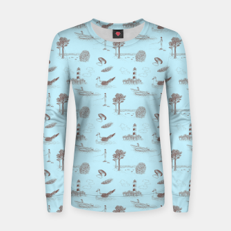 Thumbnail image of Seaside Town Toile Pattern (Light Blue and Brown) Women sweater, Live Heroes