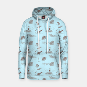 Thumbnail image of Seaside Town Toile Pattern (Light Blue and Brown) Hoodie, Live Heroes