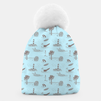 Thumbnail image of Seaside Town Toile Pattern (Light Blue and Brown) Beanie, Live Heroes