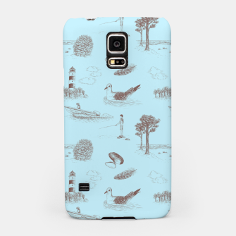 Thumbnail image of Seaside Town Toile Pattern (Light Blue and Brown) Samsung Case, Live Heroes