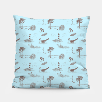 Thumbnail image of Seaside Town Toile Pattern (Light Blue and Brown) Pillow, Live Heroes