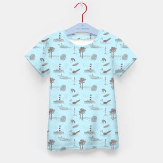Thumbnail image of Seaside Town Toile Pattern (Light Blue and Brown) Kid's t-shirt, Live Heroes
