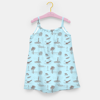 Thumbnail image of Seaside Town Toile Pattern (Light Blue and Brown) Girl's dress, Live Heroes