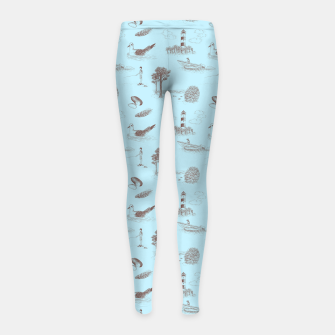 Thumbnail image of Seaside Town Toile Pattern (Light Blue and Brown) Girl's leggings, Live Heroes